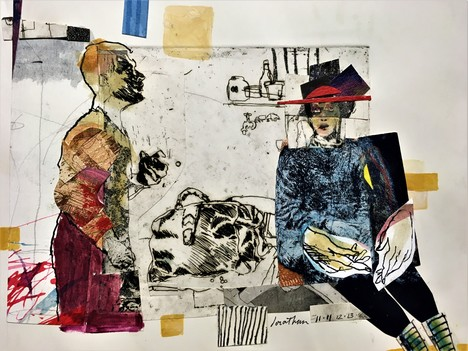JEWISH ARTISTS COLLECTIVE CHICAGO Jonathan Franklin mixed media etching collage