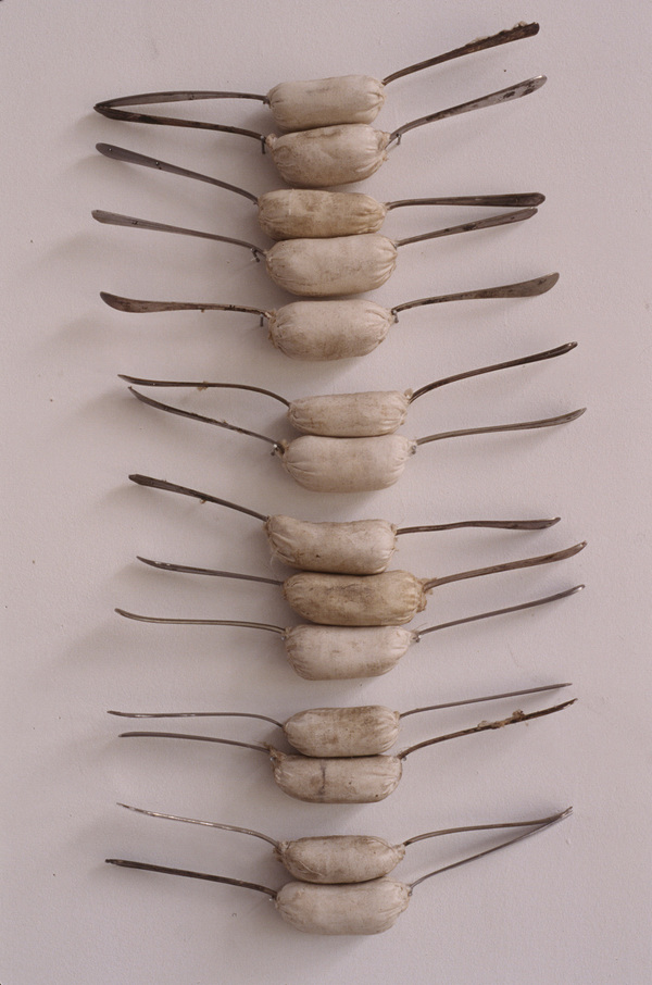 Janice Redman: Sculptor Early Sculpture Metal forks, cotton batting, cloth, wax
