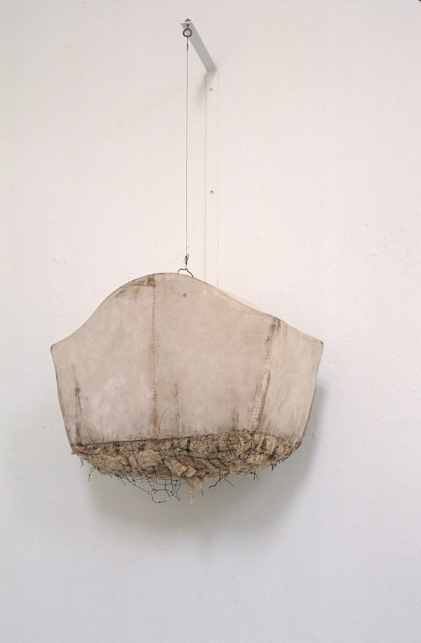 Janice Redman: Sculptor Early Sculpture Wire birdcage, cotton batting, cloth, wire, wax