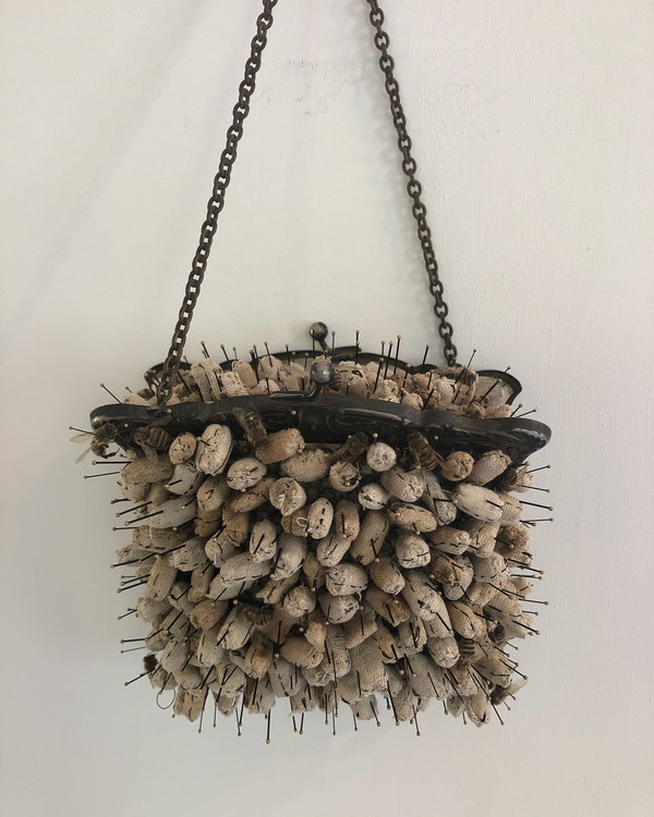 Janice Redman: Sculptor 2020 metal, honeybees, linen, cotton