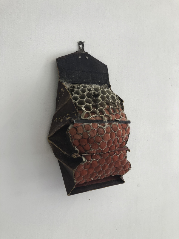 Janice Redman: Sculptor 2020 leather, cotton, wasp nest