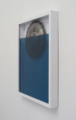 jesse robinson [frames] wood, enamel paint, glass, tint, saw blade, hardware