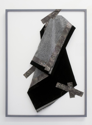 jesse robinson [frames] Wood, enamel paint, white Plexiglas, camouflage tape, and Duvetyne theatrical fabric