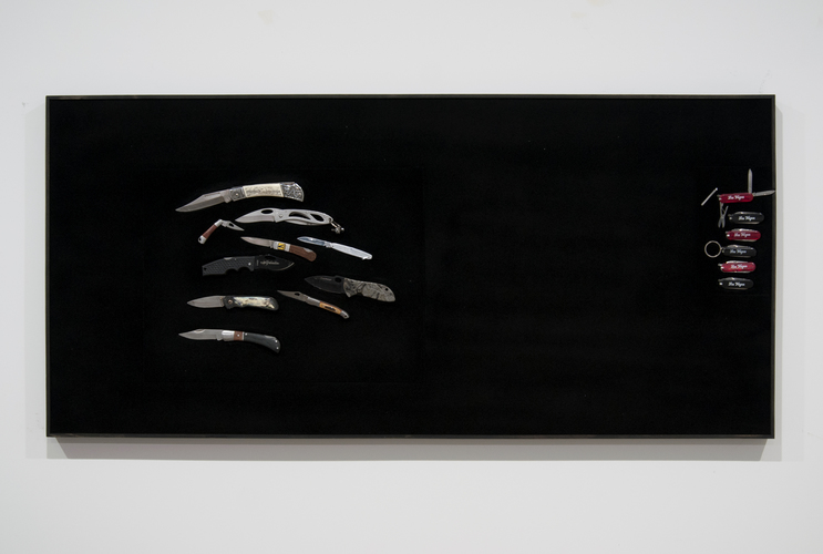 jesse robinson Confiscation Displays Confiscated knives, wood, epoxy putty, microfiber, and magnets