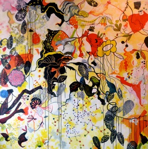 Jill Slaymaker Paintings acrylic, beeswax, oil pastel, paper, ink on canvas