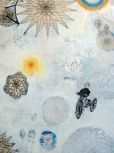 Jill Slaymaker Text/Book Art ink, acrylic, glitter, pastel, translucent paper, gold leaf frame, on paper mounted on wood