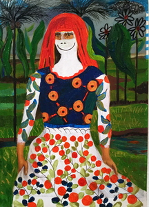 Jill Slaymaker Works on Paper gouache and acrylic on postcard