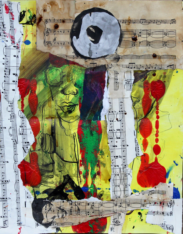 Jiyeon Angela Lee  The Theatre  Acrylic, ink, and collage on paper
