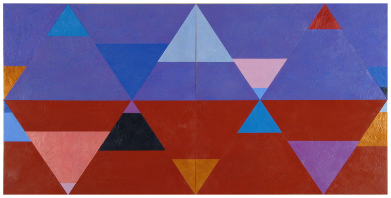 Joanne Mattera Painting: Chromatic Geometry encaustic on two panels