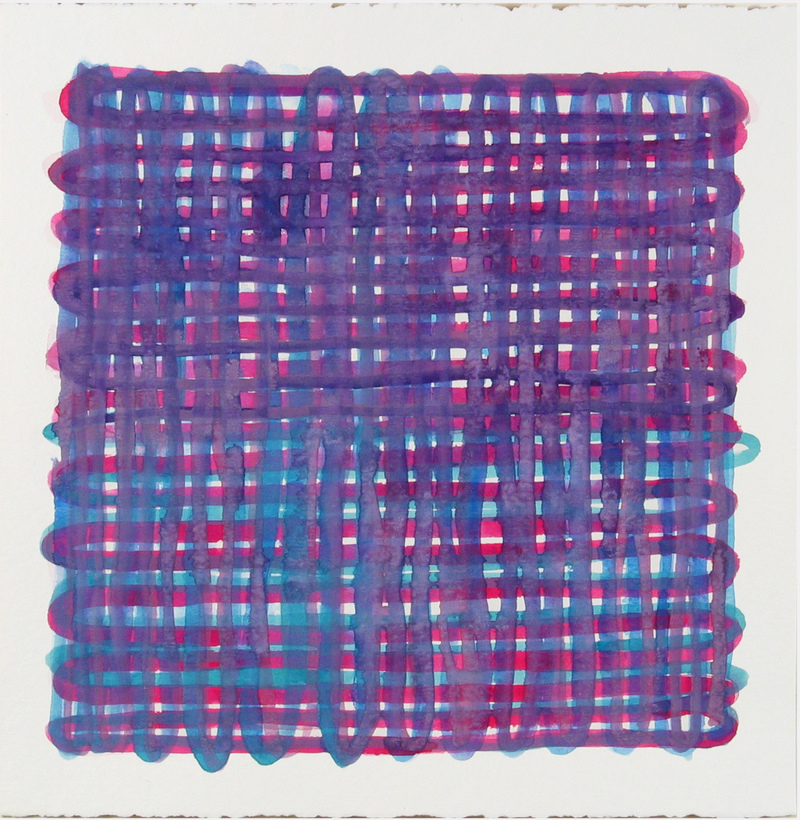Joanne Mattera Chromatic Grids 14.5 x 14.5 inches, deckle at top and bottom