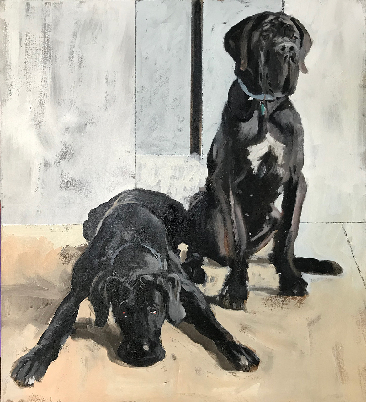 JOHN BONNER DOG SERIES Oil on canvas