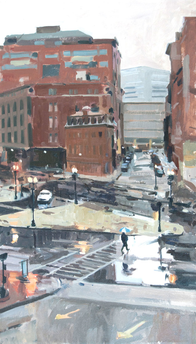 "URBAN LANDSCAPES Portland Street from Car Park Oil on Canvas 14"" x 24"""