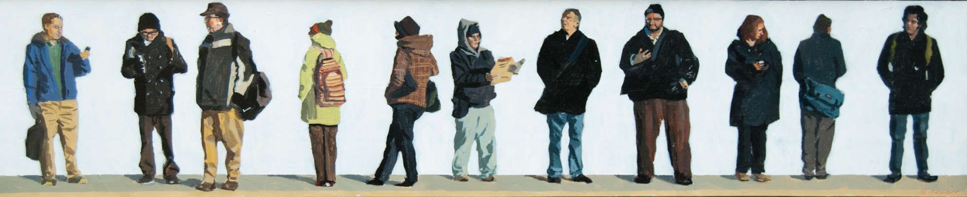 John Bonner Commuters Acrylic on cradled panel