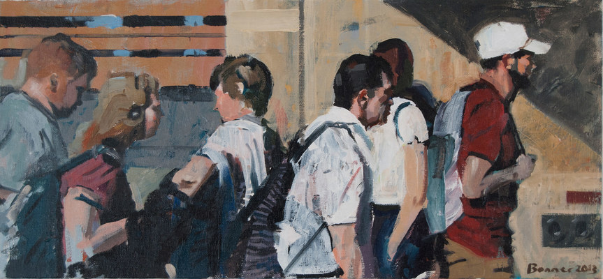 John Bonner Commuters Acrylic on canvas