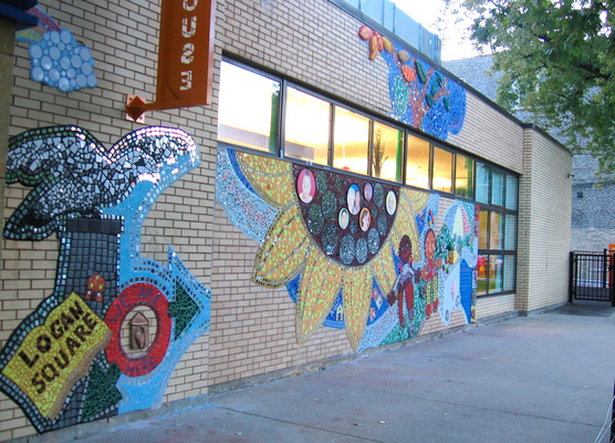 Juan-Carlos Perez Community/Murals Bricolage: mosaic tiles, mirror, cement, bronze, clay, wood, paint