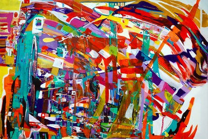 Karen L Kirshner Pop/Surrealistic Abstracts 30 x 40 inches