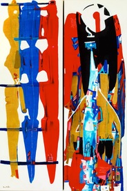 Karen L Kirshner Pop/Surrealistic Abstracts diptych, 30 x 20 inches (30 x 10 each)