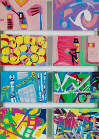 Karen L Kirshner Pop/Surrealistic Abstracts eight 4 x 6 inch canvases, 20 x 14 inches overall