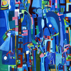 Karen L Kirshner Pop/Surrealistic Abstracts 24 x 24 inches