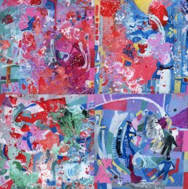 Karen L Kirshner Small Abstracts four 6 x 6 inches, 12 x 12 inches overall