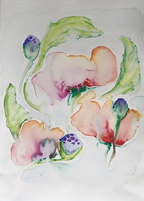 Katharine Dufault Work on Paper Watercolor paint, pencil & crayon on Arches paper