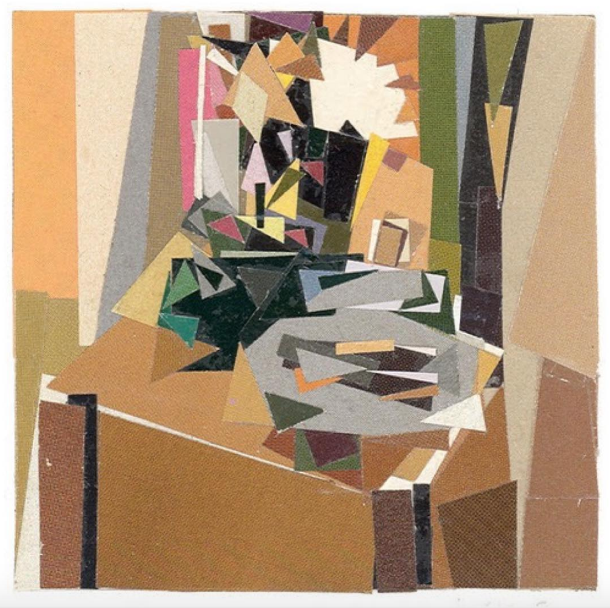 After Artist Collages 1997-2018 Fishbowl, Flowers on Crate (after Braque). 2009. paper collage.