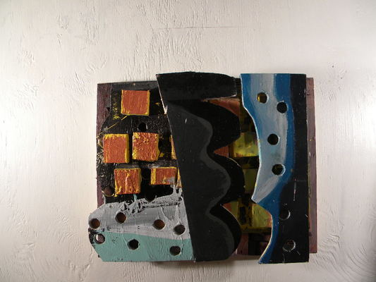 Lawrence J. Philp Constructions/Assemblage/Sculpture Acrylic paint, latex enamel paint and wood cutouts.