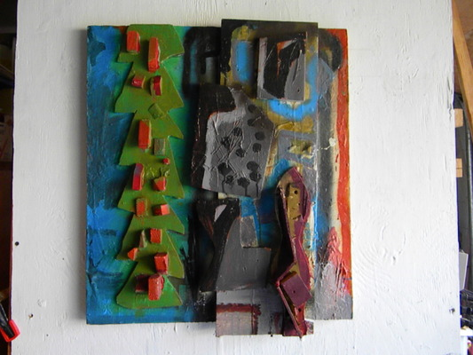 Lawrence J. Philp Constructions/Assemblage/Sculpture Acrylic paint, latex enamel paint, wood cut outs painted,mounted on board.