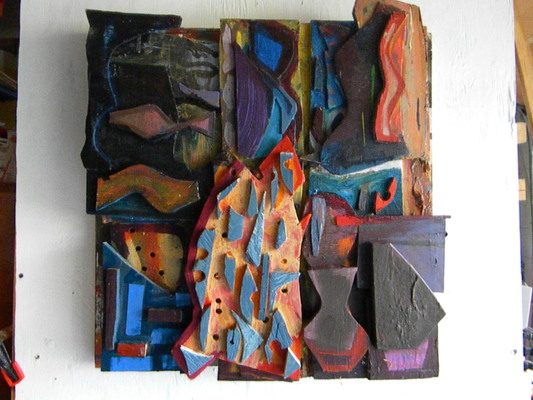 Lawrence J. Philp Constructions/Assemblage/Sculpture acrylic paint, latex enamel paint, spray paint on board.