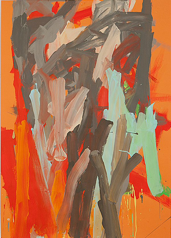 Leah Durner Works on Italian Colored Papers (39x27.5 in) gouache on orange Fabriano Tiziano colored paper