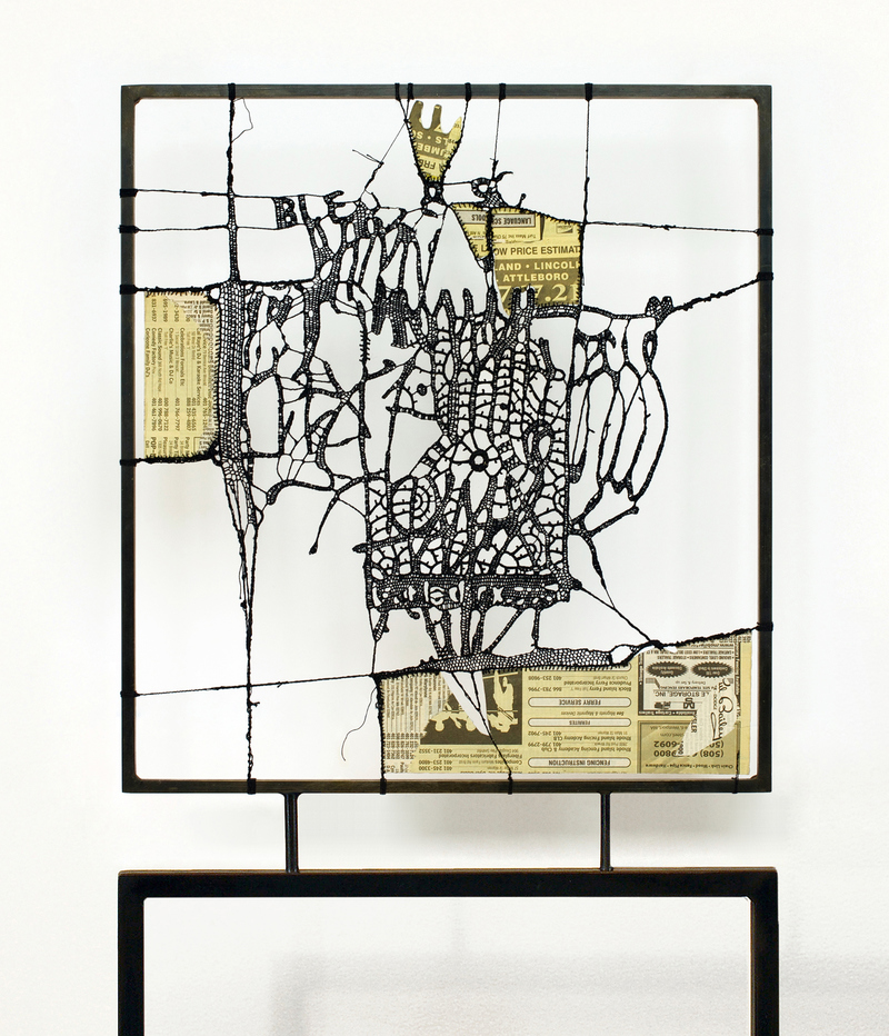 Leslie Hirst Objectively Speaking cotton thread and Yellow Pages mounted to steel frame