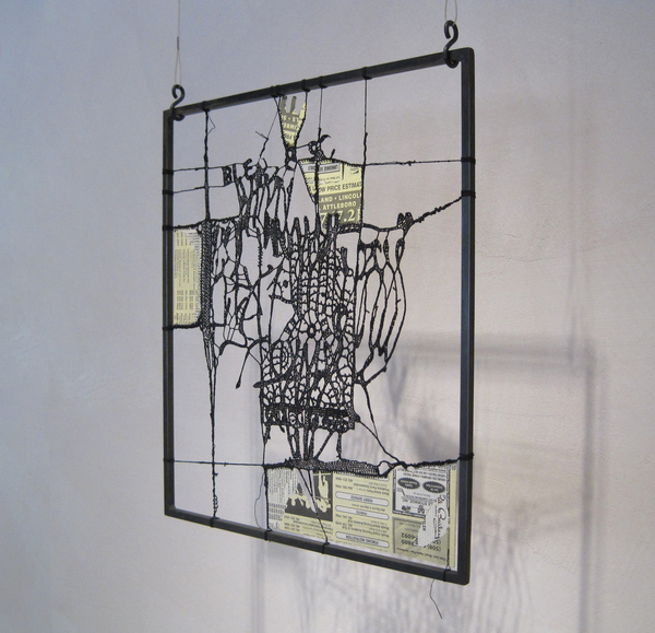 Leslie Hirst Message Threads cotton thread and Yellow Pages mounted to steel frame