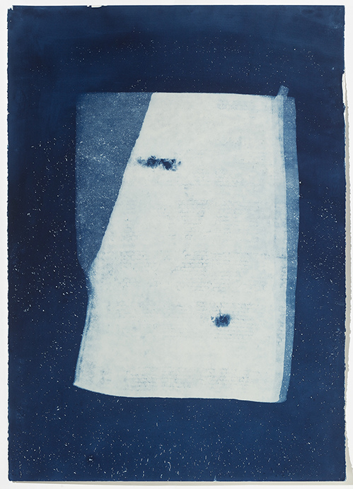Leslie Hirst of rock and air cyanotype print on Fabriano