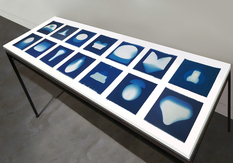 Leslie Hirst of rock and air cyanotype prints on cotton