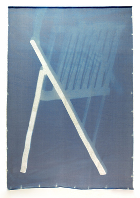 Leslie Hirst Objectively Speaking cyanotype on silk