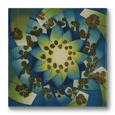 Leslie Hirst Clover Paintings  two-, four-, and six-leaf clovers, enamel, and resin on wood