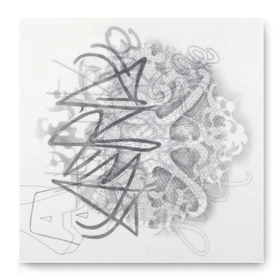 Leslie Hirst Graffiti Lace powdered graphite and ink on vellum