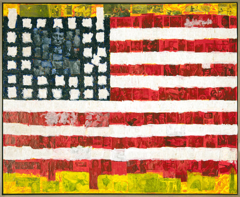 MARC LEAVITT Flag Series Acrylic and Collage on Canvas