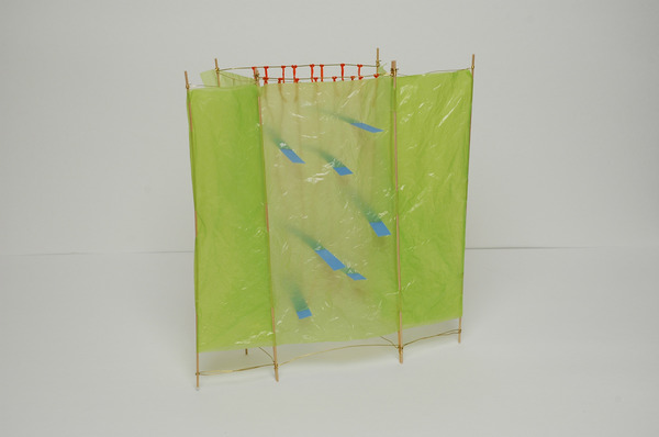 Weavings & Woven Structures Plastic (grocery bags), thread, vellum, wire, rubber and wood