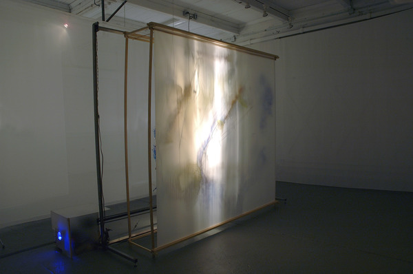 Scanning Viscera - Stills & video Silk fabric, light, motor, timer, relay swtiches, steel, wood, denril, acrylic on acetate, acrylic on acetate, acrylic on plexiglass, vinyl, thread, copper rods