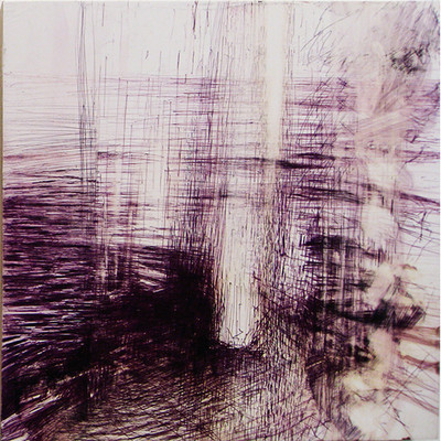 Margot Spindelman Rain 2013 ballpoint pen and turpentine on panel