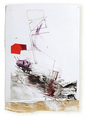 Margot Spindelman Roofs, Berths, Currents 2014-2016 gouache and ink on gessoed paper with brown tape