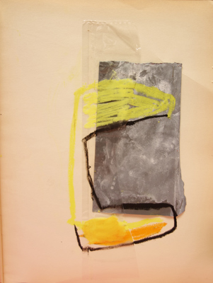 Margot Spindelman Drawings 2020 oil pastel, sand paper, packcing tape