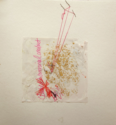 Margot Spindelman Drawings 2020 colored pencil, elastic thread, gold leaf
