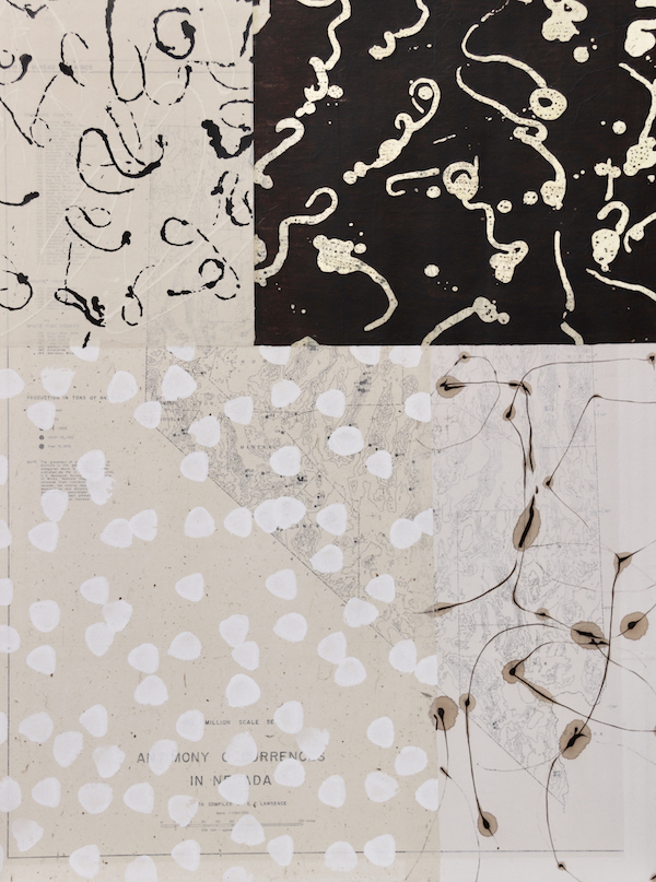 Marianne Hall Large Rectangle on Panel Sumi & Walnut Ink, Wax Resist, Rice Paper, Vintage Mining Map on Cradled Board