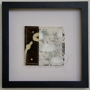 SHOP #Artist Support Pledge Stitched Collage, Rice Paper, Walnut Ink, India Ink, Encaustic, Wax Resist, Linen Thread, Beads