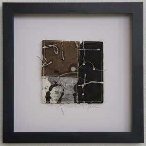 SHOP #Artist Support Pledge Stitched Collage, Rice Paper, Walnut Ink, Sumi Ink, Wax Resist, Linen Thread, Beads