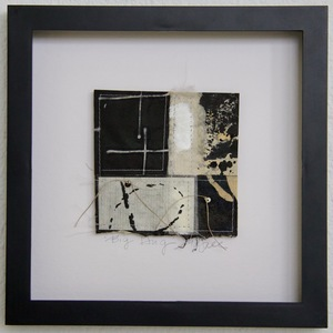 SHOP #Artist Support Pledge Stitched Collage, Rice Paper, Walnut Ink, Sumi Ink, Encaustic, Wax Resist, Linen Thread, Beads