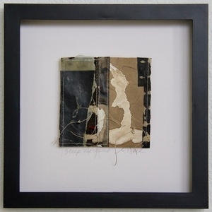 SHOP #Artist Support Pledge Stitched Collage, Rice Paper, Walnut Ink, Sumi Ink, Acrylic Ink,  Encaustic, Wax Resist, Linen Thread, Beads