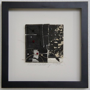SHOP #Artist Support Pledge Stitched Collage, Rice Paper, Sumi Ink, Wax Resist, Thread, Beads